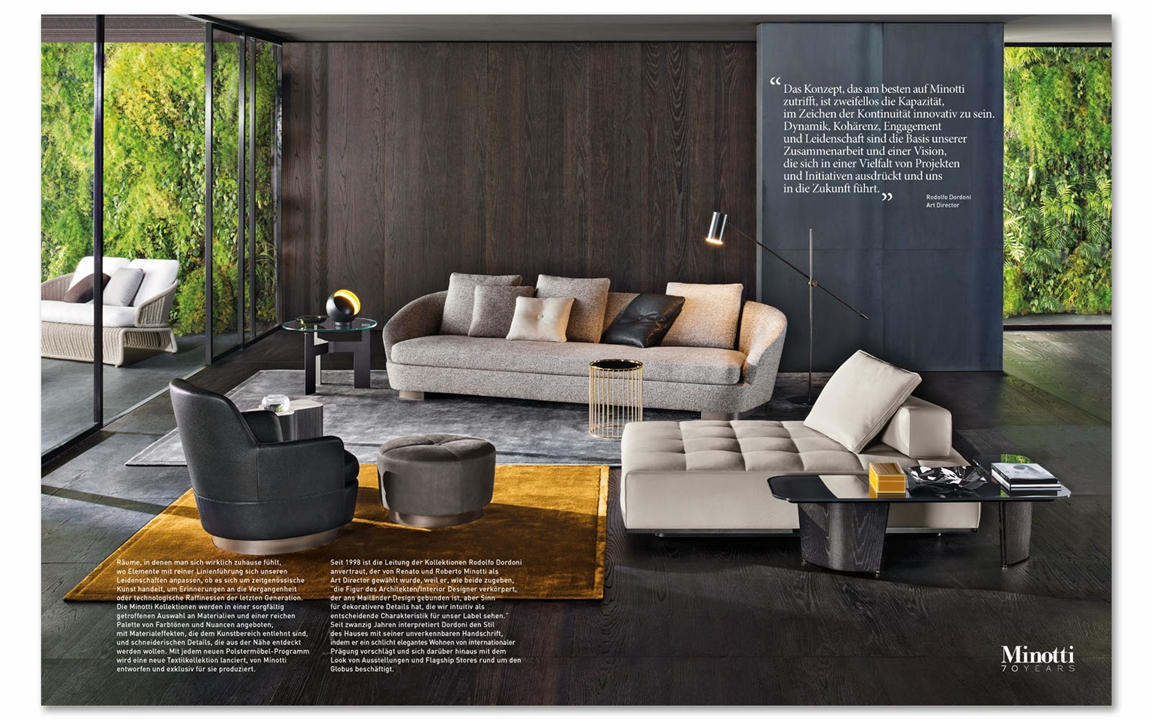 minotti showcased in ad elle decoration and icon germany. Black Bedroom Furniture Sets. Home Design Ideas