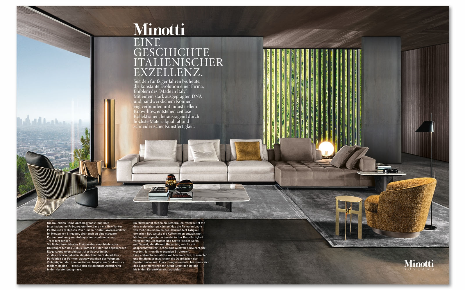 Minotti showcased in ad elle decoration and icon germany for Elle decoration germany