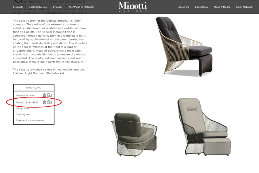 Check out Minotti's revit library